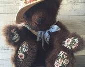 Vintage Handmade Jointed Teddy Bear - Tea Party Bear - Teddy Bear Picnic - Shabby Chic Bear - Handmade Vintage Teddy Bear - Mrs Bearington