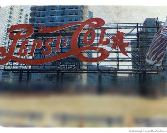 Pepsi-Cola, Vintage, Queens, Photography, Long Island City, LIC, Neon, Sign, FREE SHIPPING!