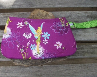 Tinker Bell Wristlet - Purple and Green Clutch Handbag Purse - Fairy Pixie Faery Fae Nature Flower - Swoon Coraline