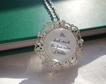 """Cinderella Necklace- """"First Notes of Twelve"""" Book Page Jewelry"""