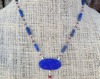 Lapis Bead and Vintage Pressed Glass Cabochon Necklace