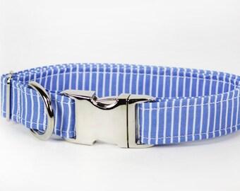 """Blue and white pin stripped dog collar - """"Dashing"""""""