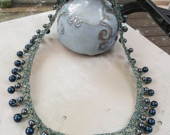 Teal and Brass Crochet Beaded Collar Necklace with Swarovski Crystal Peals - One of a Kind Statement Necklace