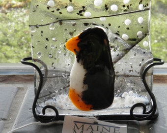 Penguin Fused Glass Candle Holder