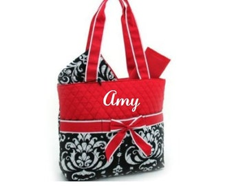 Red Damask Diaper Bag, Zipper Pouch & Changing Pad with Monogram, Damask Diaper Bag, Damask Diaper Bag Set, Red and Black Diaper Bag