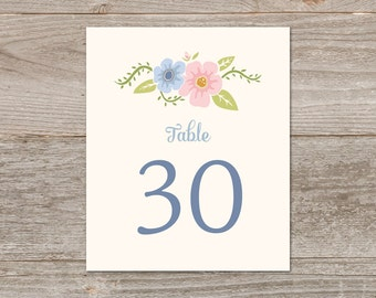 Tented Table Numbers 1-30, Printable Table Numbers // Whimsy Floral Table Numbers for Wedding // Light Blue Wedding Decor, Instant Download