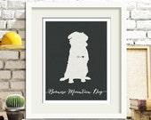 I love my dog, Bernese Mountain Dog, personalized dog name, heart home decoration poster, digital artwork print, modern home decor dog lover
