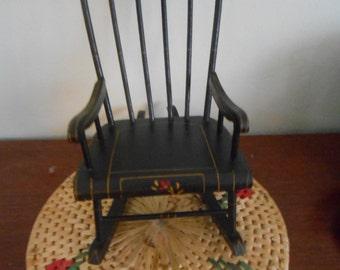 Vintage Doll Rocking Chair Pennsylvania Dutch Hand Painted Dollhouse Miniature