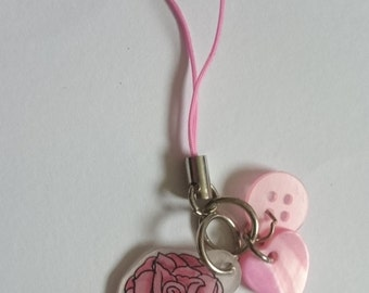 PREMADE One Hand Drawn Pastel Pink Rose Phone Charm Keyring