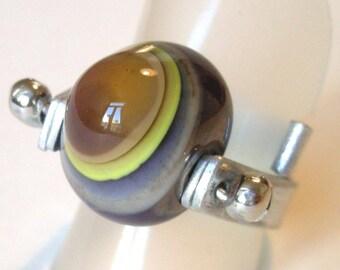 GLASS purple-ochre GLASS Bead Ring bead ring