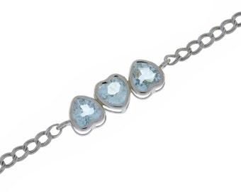 Aquamarine Heart Bezel Bracelet .925 Sterling Silver