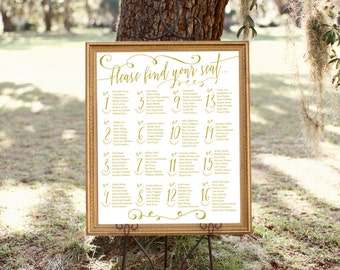 Gold Guest Wedding Seating Chart Printable - Digital File - Table Numbers - Elegant