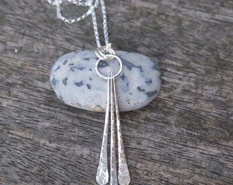 Silver necklace, silver pendant, necklace sterling silver forged rods, hammered silver necklace, handmade jewelry, ARC Jewellery UK
