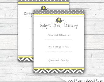 Book Plate, Printable Book Plate, Elephant Baby Shower, Gender Neutral Shower, Yellow and Gray - INSTANT DOWNLOAD - Printable