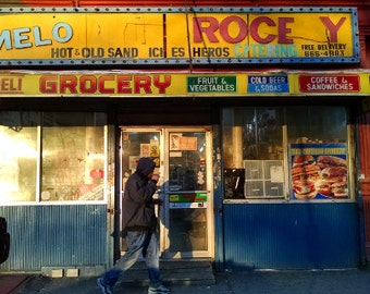 New York City Photo: South Bronx Bodega - SoBro residents walking the street on New Year's Eve 2014