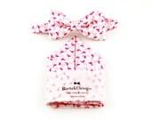 Bow Tie & Pocket Handkerchief setwhite pink flamingo wedding grooms gift proms