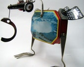 """UPCYCLED Recycled Reused Re purposed  ROBOT Sculpture - """"Niagara falls bird  """" - found objects art,scrap art,renewal,on the wheels"""