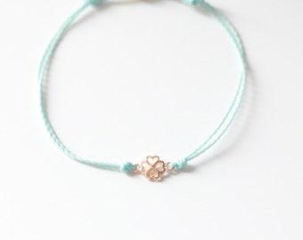 Four Leaf Clover Bracelet -  Lucky four leaf clover - Four Leaf Clover  bracelet