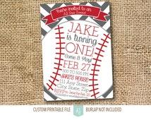 Baseball Birthday Invitation- Childs Birthday Party Invite- Printable File-Baseball Theme Party- Kid's Birthday Invitation