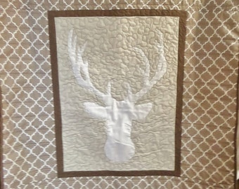 Personalized quilt - Boy baby crib quilt - Deer head quilt - Homemade baby quilt - Boy crib bedding item