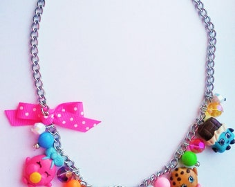 Shopkins inspired charm necklace (kooky cookie, lippy lips, cheeky chocolate, cupcake queen and bubble gum)