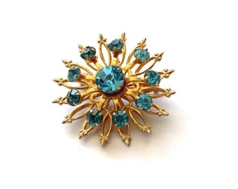 Vintage Blue and Gold Rhinestone Pin | Flower Brooch