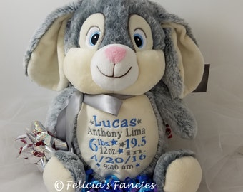 Personalized Stuffed Animal Baby Gift, Bunny Baby Cubbie Stuffie with Birth Announcement from Felicia's Fancies Baby Boutique