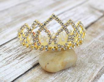 Rhinestone Princess Gold Crown Tiara Comb for Bridal Wedding Pagents, Mini Tiara, Princess Tiara, bachelorette tiara
