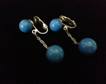 Vintage 1970's Dangle Blue Clip-on Earrings