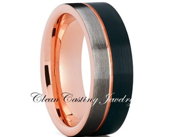 GUNMETAL Rose Gold Band,Tungsten Wedding Band,Black Tungsten Ring,Anniversary Ring,Engagement Band,18k Rose Gold,Comfort Fit,12mm,8mm,6mm