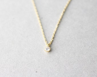 Tiny cubic necklace - tiny cubic gold necklace -  minimal necklace