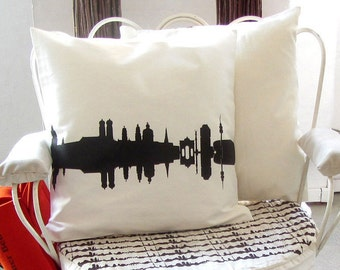MÜNCHEN new decorative Throw Pillow Cushion Cover for your home - 100% Cotton Twill - Skyline - hand screenprinted delicate chocolate