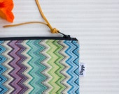 Makeup Bag - Blue Green Purple Chevron Toiletry Bag, Geometrical Tapestry Cosmetic Organizer, Small Gift for Him & Her