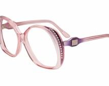 Emilio Pucci vintage 1970s pink & violet pearl effect oversized eyeglasses - sunglasses frames, New old stock