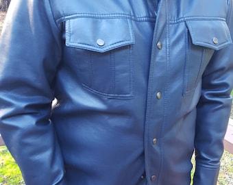 Blue Vinyl 70's Butterfly Collar Men's Jacket