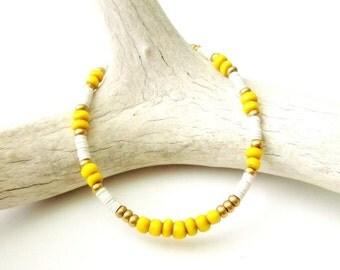 Boho Jewelry Seed Bead Bracelet African Beaded Bracelet Friendship Bracelet - YELLOW - Bohemian Jewelry Hippie Jewelry - Tribal Bracelet