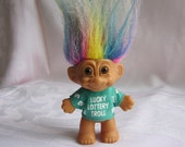 Lucky Lottery Troll with Rainbow Hair and Green Shirt 3 inch Collectible Troll by Russ 1980s