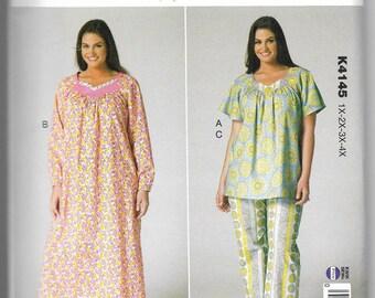 K4145 Kwik Sew Top, Pants, and Nightgown Sewing Pattern Plus Sizes 1X-2X-3X-4X Kerstin Martensson