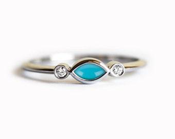 Turquoise Diamond Ring, Turquoise Engagement Ring, Natural Turquoise With Diamond Engagement Ring, Three Stone Ring