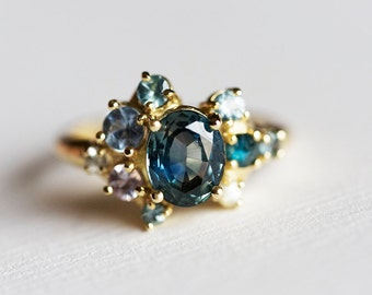 Teal Sapphire Cluster Ring, Gold Cluster Ring, Oval Engagement Ring, Green Engagement Ring, Blue Engagement Ring, Unique Engagement