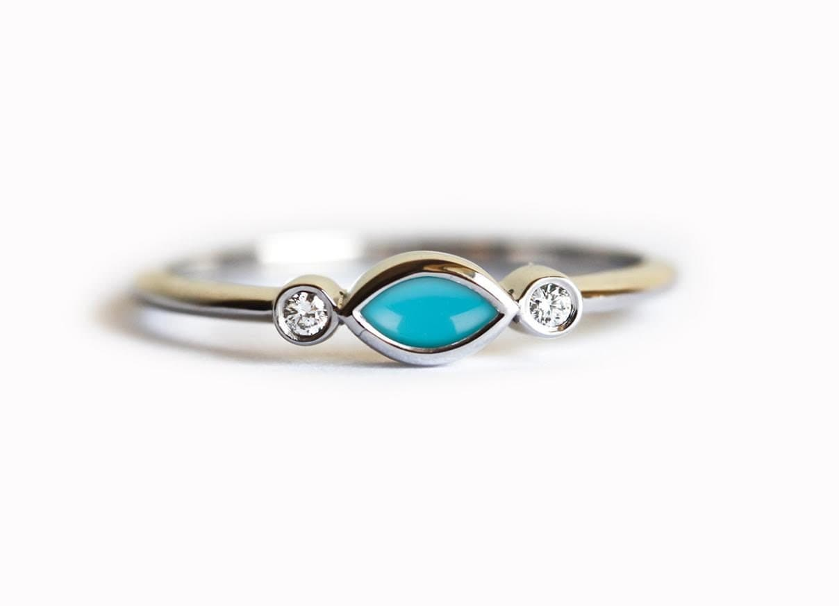 ... Natural Turquoise With Diamond Engagement Ring, Three. 🔎zoom