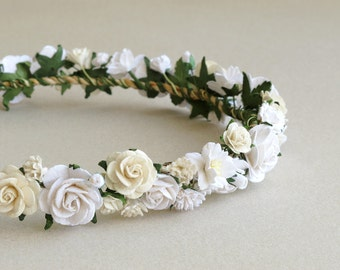 White & Ivory Bridal Crown - Paper flower hair accessory - Made of mulberry paper and natural twine