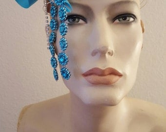 Turquoise and Silver Flapper Gatsby Goddess Crystal Bridal Headpiece Wedding Party Costume