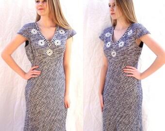 Vintage dress, Oscar de la Renta, OSCAR, navy and white, embroidered, secretary, day dress, interview, size 4