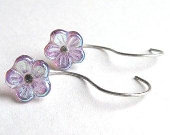 CZECH GLASS Flower Iridescent Earrings-Czech Glass Earrings, Long Stud, Long Post Earrings, Yoga Earrings, Yoga Jewelry, Threader Earrings