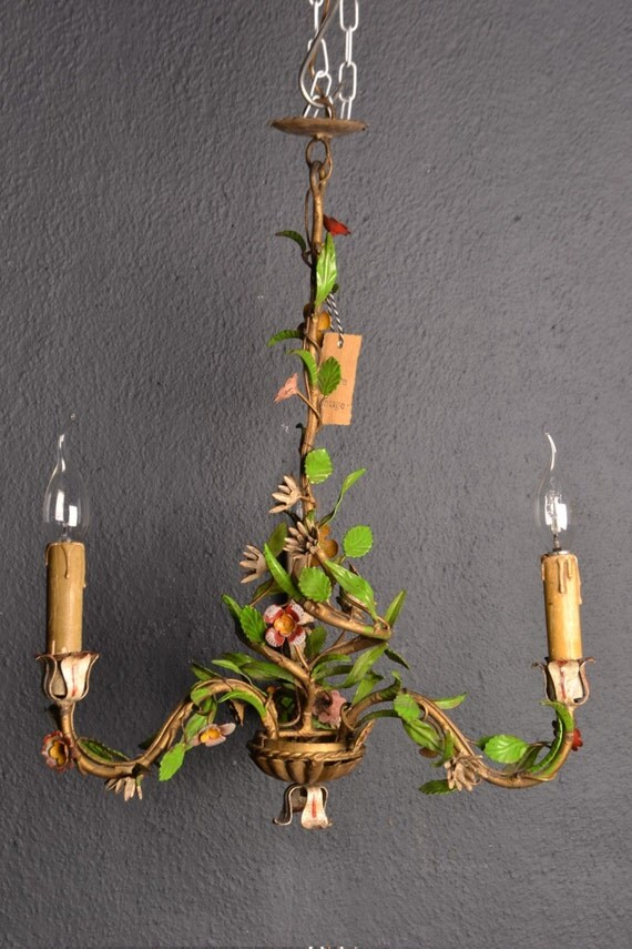 Stunning old tole flower chandelier