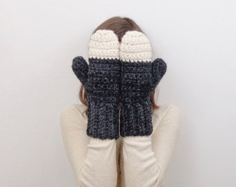Chunky Crochet Mittens Wool Knit Mittens | THE ASPENS