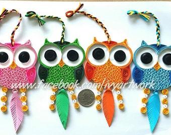 Paper Quilled Owl decor | Owl Nursery art | Owl wall art | Owl dreamcatcher | Owl home decor | Owl art print | Owl charm | Owl lover gift