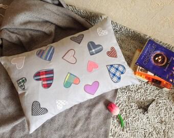 "Minimalist Pillow 14""x22"" with Hearts,Sofa Pillows,Kids Pillow Cushion,Monochrome Nursery,Cute Decor Pillows,Kids Pillow Decor,Oblong Pillow"