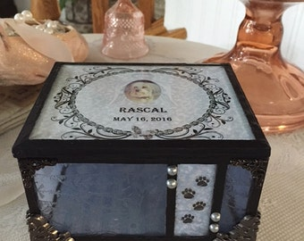stained glass customized pet memory box loss of dog keepsake